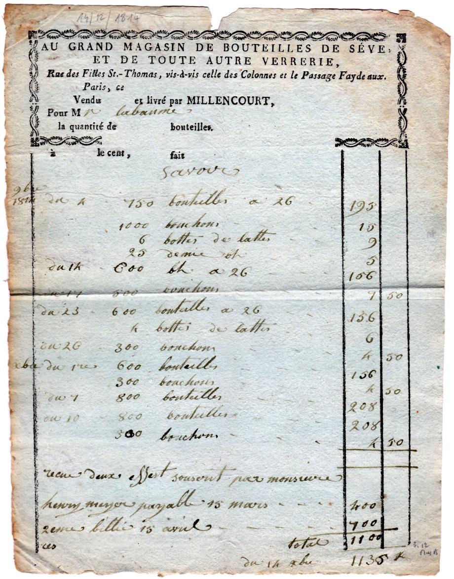 1814 Facture Bouteilles  Millencourt-Paris à Labaume.jpg