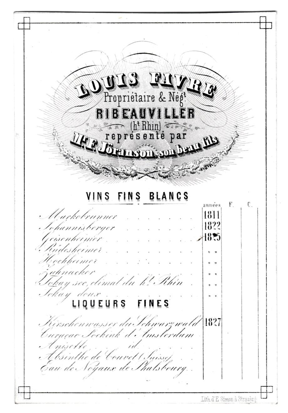 1811-1827, Tarif Vins Alsace Jules FAVRE à Ribeauviller ex H. Laigle, Litho E. Simon à Strasbourg